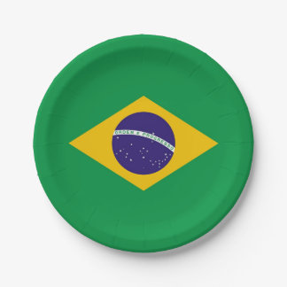 Patriotic paper plate with flag of Brazil