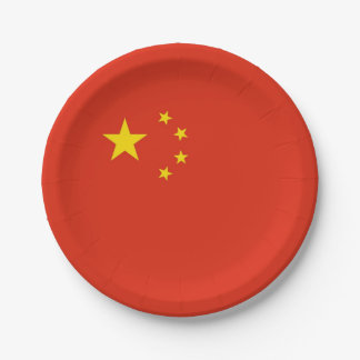 Patriotic paper plate with flag of China