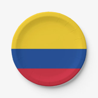 Patriotic paper plate with flag of Colombia