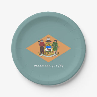 Patriotic paper plate with flag of Delaware