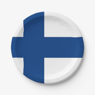 Patriotic paper plate with flag of Finland
