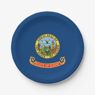 Patriotic paper plate with flag of Idaho