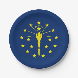 Patriotic paper plate with flag of Indiana