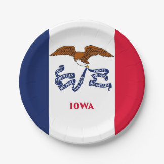 Patriotic paper plate with flag of Iowa