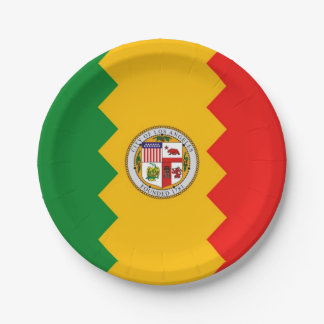 Patriotic paper plate with flag of Los Angeles