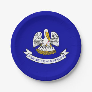 Patriotic paper plate with flag of Louisiana