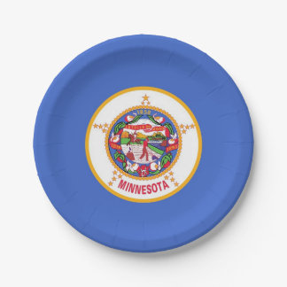 Patriotic paper plate with flag of Minnesota