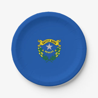 Patriotic paper plate with flag of Nevada