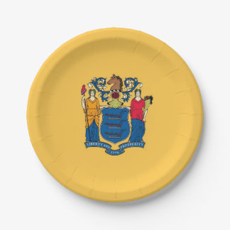 Patriotic paper plate with flag of New Jersey