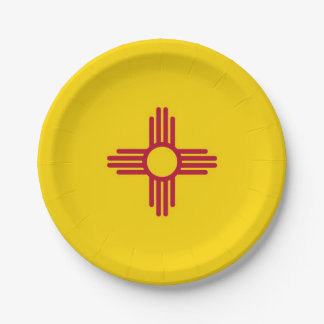 Patriotic paper plate with flag of New Mexico