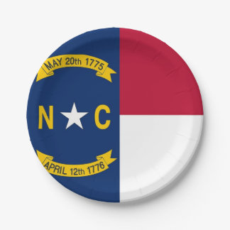 Patriotic paper plate with flag of North Carolina