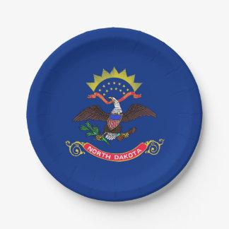 Patriotic paper plate with flag of North Dakota