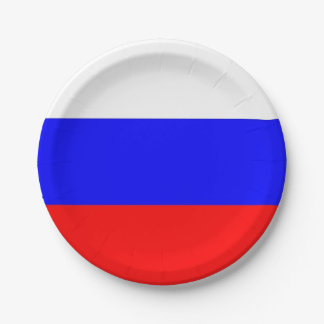 Patriotic paper plate with flag of Russia