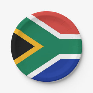 Patriotic paper plate with flag of South Africa