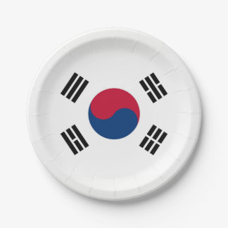 Patriotic paper plate with flag of South Korea