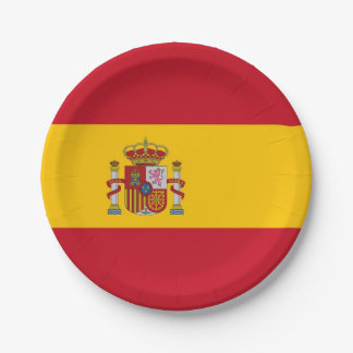 Patriotic paper plate with flag of Spain