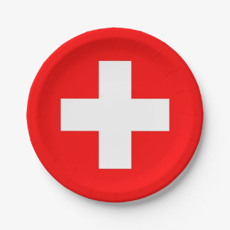 Patriotic paper plate with flag of Switzerland