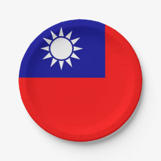 Patriotic paper plate with flag of Taiwan
