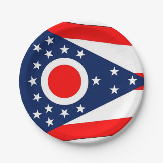 Patriotic paper plate with Ohio flag