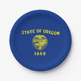 Patriotic paper plate with Oregon flag