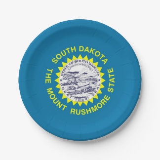 Patriotic paper plate with South Dakota flag