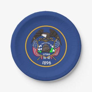 Patriotic paper plate with Utah flag