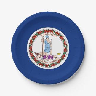 Patriotic paper plate with Virginia flag