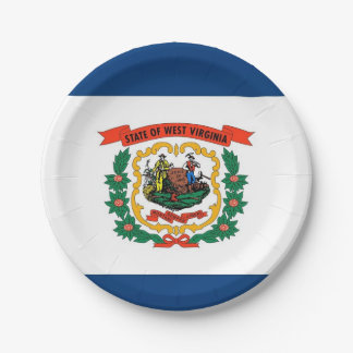 Patriotic paper plate with West Virginia flag