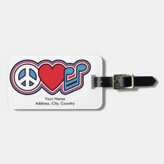 Patriotic Peace Love Music Luggage Tag