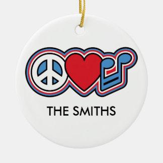 Patriotic Peace Love Music Round Ceramic Decoration