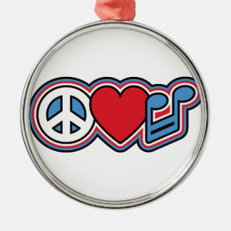 Patriotic Peace Love Music Silver-Colored Round Decoration