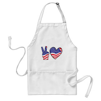 Patriotic Peace Sign and Heart in Flags Standard Apron