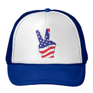 Patriotic Peace Sign USA Mesh Hats