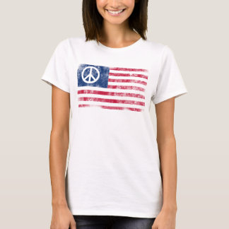 Patriotic Peace Symbol on American Flag T-Shirt