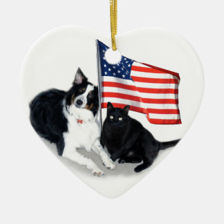 Patriotic Pets Gifts, Aussie and Cat Ceramic Ornament
