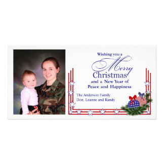 Patriotic Photo Christmas Card Photo Card Template