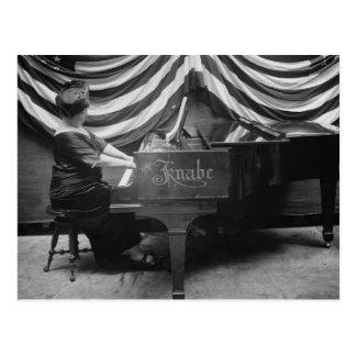 Patriotic Pianist, 1920s Postcard