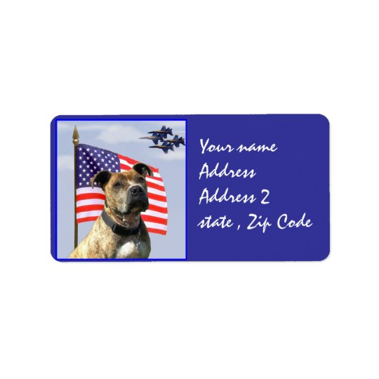 Patriotic pitbull dog address label