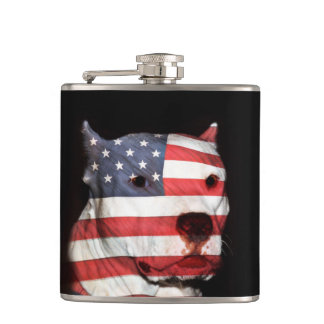 Patriotic pitbull hip flask