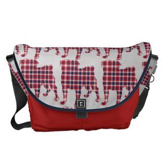 Patriotic Plaid Pugs Courier Bags