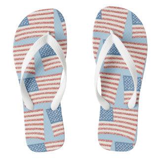 Patriotic Pointillism U.S. Flag Custom FlipFlops Thongs