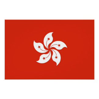 Patriotic poster with Flag of Hong Kong