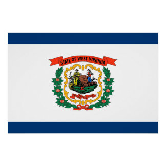 Patriotic poster with Flag of West Virginia