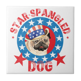 Patriotic Pug Ceramic Tile