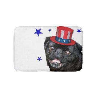 Patriotic pug dog bathmat bath mats