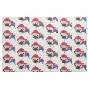 e3fd10206fe Patriotic Pug in Baseball Hat Fabric