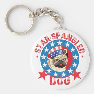 Patriotic Pug Key Ring