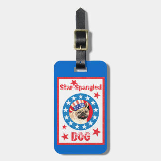 Patriotic Pug Luggage Tag