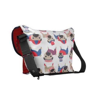 Patriotic Pugs Messenger Bag