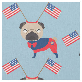 Patriotic Pugs with Flags 2 Fabric
